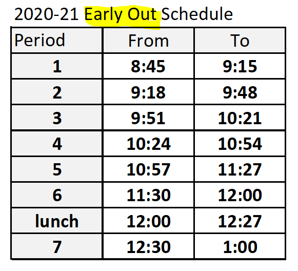 Early Out Wednesday Bell Schedule