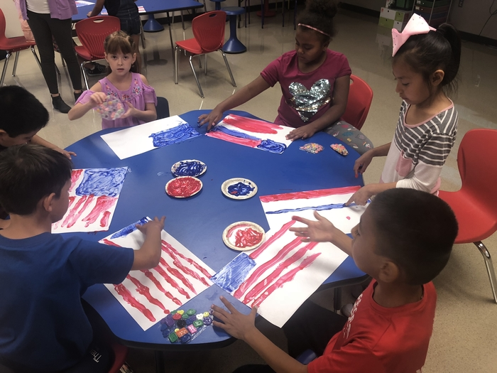 9/11 flag finger painting