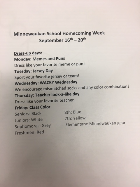 Homecoming Week Dress Up Days